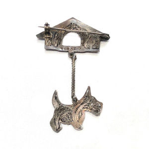 Topazio Jewelry - Topazio Portugal Scottie Dog House Sterling Brooch